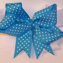 Girls Hairbow Hair Bow Aqua Blue and White Polka Dot Photo