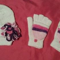 Girls Hat and Gloves Nylon Polyester Avon White Pink Purple Photo