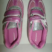 Girls Hello Kitty Pink & Silver Glitter Athletic Shoes in Size 3m. With Box Photo
