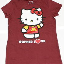 Girls Hello Kitty T-Shirt Gopher Love Minnesota Golden Gophers Shirt Xl (14) Photo