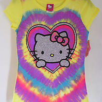 Girls Hello Kitty Yellow Silver Glitter Heart T Shirt Sz 12 Nwt Photo