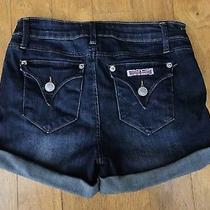 Girls Hudson Low Rise Flap Pocket Dark Cuffed Jean Shorts  Sz 14 Photo