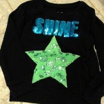 Girls Justice Size 6 Green Star Black Sweatshirt Teal Shine Sequin - Cute Photo