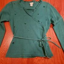 Girls Kc Parker Teal Embellished Sweater Top Size M 7-8 Photo