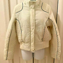 Girls Large Winter Coat Parker Jacket White Zip Up Nylon Quilted Sugar Candy Photo