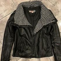 Girls Leather Jacket Vintage Havana Size M Black/white Good Cond Long Sleeve Zip Photo