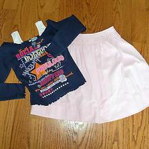 Girls Lot of 2 Strasburg Pink Skirt & Skechers Navy Long Sleeve Shirt Size 7 Photo