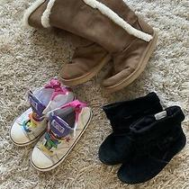 Girls Lot of 3 - Boots & Converse Sneakers - Size 11 ((pre-Owned) Photo