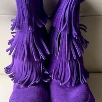 Girls Minnetonka Purple Suede Fringed Boots Hanna Andersson  4  Like New Photo