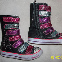 Girls Multicolored Velcro Light Up and Zip Up Sketcher Boots Size 4 Youth Photo