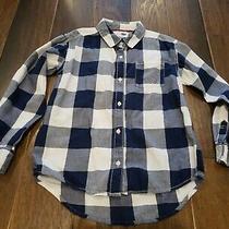 Girls Navy Blue & White Plaid Long Sleeve Shirt Old Navy Size 8 Medium Euc  Photo