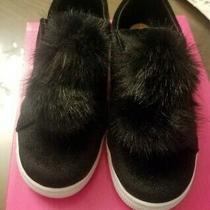 Girls New Black Rampage Slip on Velvet Pom Pom Fur Sneakers Size 11 Nib Photo