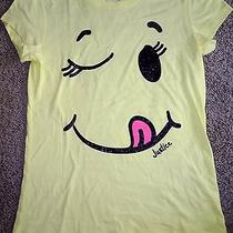 Girls New Nwot Justice Yellow Smiley Face Wink Shirt Top 40 Things to Be Happy  Photo