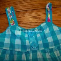 Girls Next Euro Brand Aqua Check Hotchpotch Tank Sz 8 Yrs Free Shipping Photo