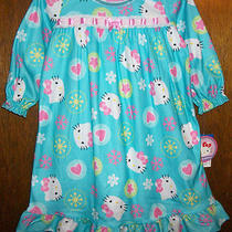 Girls Nightgown Sz 18 Mos Hello Kitty Aqua/laceribbon & Hello Kitty's Face Nwt Photo