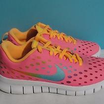 Girls Nike Free Express Running Shoes 641867-600 Pinkmangowhite Size 2.5y  Photo