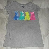 Girls Old Navy Gray Kitty Cat Kitten Top Size Medium (8) Used Photo