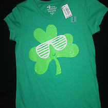 Girls Old Navy Green St. Patricks Day Shirt Sparkly Clover With Sunglasses Xs 5 Photo