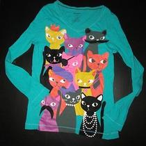 Girls Old Navy Long Sleeved Top Shirt Sz Xl 14 Kitty Cat Mustache Photo