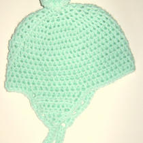 Girls or Boys Aqua Hand Crochet Earflap Hat Cap Peruvian Hand Crochet   Photo