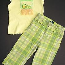 Girls Outfit Sz 4 4t Baby Gap Plaid Capris Big Fish Lemonade Stand Top Photo