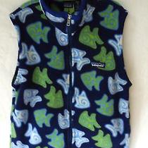 Girls' Patagonia Rare Fish Patterned Fleece Vest Sz. 10 (M) Excellent Condition Photo