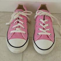 Girls Pink Low Top Converse Tennis Shoes Sz 2 Photo