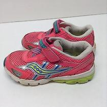 Girls Pink Saucony Velcro Shoes Size 8.5 Photo
