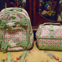 Girls Pottery Barn Small Green Flower Backpack/lunch Box Set (Guc) Mono