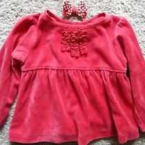 Girls Red Swing Shirt With Heart Bow Hairclip Size 18 Months Photo