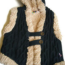 Girls Roxy Sweater Vest Youth Size M Black Hooded Fuzzy Faux Fur Cable Knit  Photo