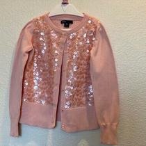 Girls S (6-7) Gap Kids I Want Candy Peach Sequin Cardigan Sweater Buttons Photo