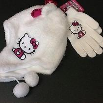 Girls Sanrio Hello Kitty Faux Fur Hat and Matiching Gloves Nwt Photo