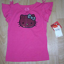 Girls Sanrio Hello Kitty 'S Face in Dark Pink Sequins Pink Shirt Size 5 New Tags Photo