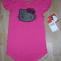 Girls Sanrio Hello Kitty 'S Face in Silver Sequins Pink Shirt Size 4 New Tags Photo