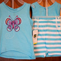 Girls Short Set Sz 12 Mos Dg Baby  Beautiful Aqua Tank & Striped Shorts Nwt Photo