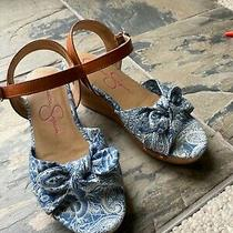 Girls Size 1 Jessica Simpson Cork Wedges Blue Patterned Sandals Tan Leather Trim Photo