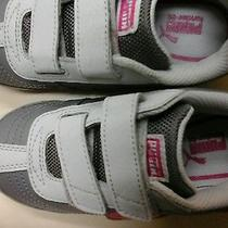 Girls Size 11 Puma Kinder-Fit Gray and Pink Sneakers New Photo