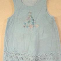 Girls Size 3t Aqua Corduroy Jumper Dress Christmas Tree Sparkles Ruffle Trim Wow Photo