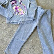 Girls Size 4 Baby Gap - Cat Design Sweatshirt and Grey Dot Leggings Set - Euc Photo