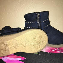 Girls Size 6 Black Bebe Ankle Boots (Navy Blue) Photo