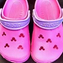 Girls Size M1 W3 Youth Disney Mickey Pink Cayman Crocs Photo