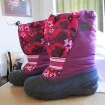 Girls Sorel Cub Winter Pac Boots Youth Sz 6 38 2/3 Purple Floral Photo