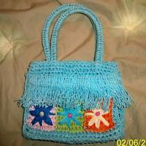 Girls Straw Grass Fringe Aqua Purse 6-1/2