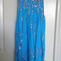 Girls Summer Dress or  Cover-Up Turquoise Blue & Embroidery Tie-Up Size Small Photo