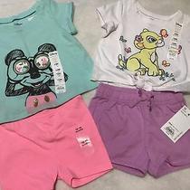 Girls Sz 12 Mos Disney Nala Mickey Lot 2 Shorts & Tshirt Outfits Nwt Photo