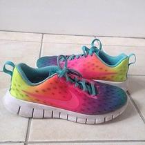 Girls Sz 2.5 Youth Nike Free Express Rainbow Running Athletic Gym Shoes Sneakers Photo