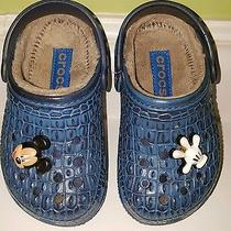 Girls Sz 8...crocs With Mickey Mouse Charms...mint Cond Photo
