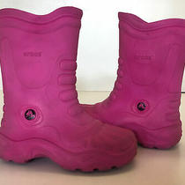 Girls Toddlers Pink Crocs Boots Rain Boots Sz 12-13 Pink Guc Fall/winter Photo