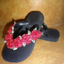 Girls Toddlers Sandals Flip Flops Havaianas Black & Red Roses Us 7/8 Photo